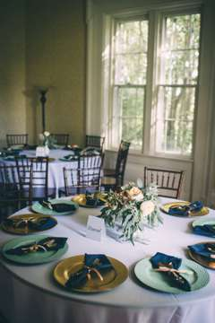 Aqua, navy & gold tablescape. DIY Flowers. Sarah Katherine Davis Photography.