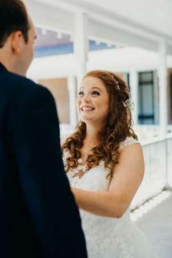 First look between bride and groom at Warrenwood Manor wedding