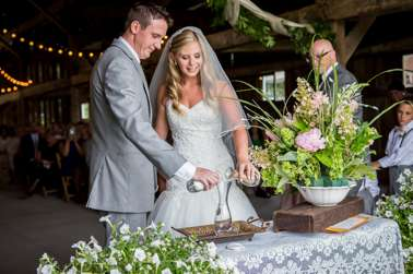 Wedding Unity Ceremony, Sand ceremony at summer barn wedding