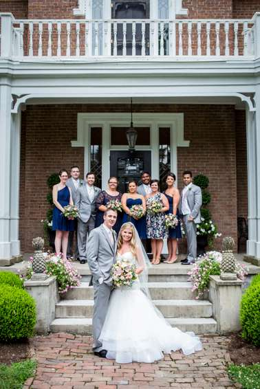Wedding party in front of historic Kentucky mansion in Danville, KY