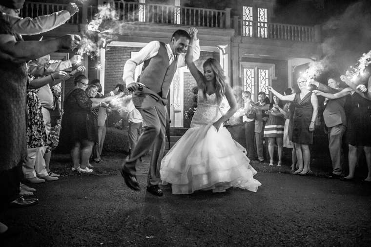 Sparkler sendoff from Warrenwood Manor wedding