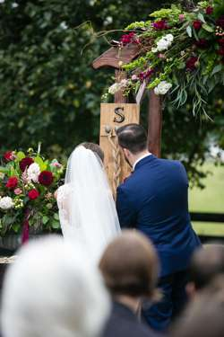 Classy glam southern fall outdoor wedding ceremony