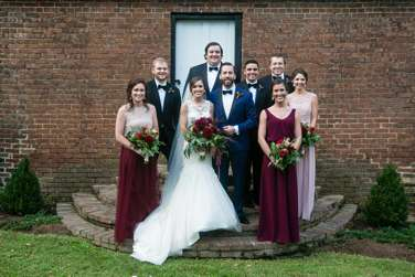 Wedding party in burgundy, navy & black for fall wedding at Warrenwood Manor