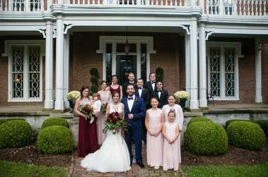 Wedding party in blush, burgundy, navy & black for fall wedding at Warrenwood Manor