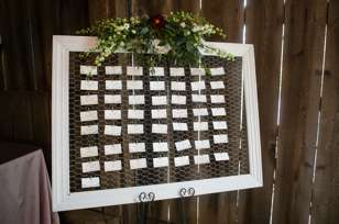 Seating chart for rustic glam wedding at Warrenwood Manor