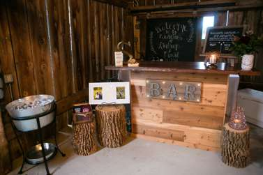 Rustic bar setup for Warrenwood barn wedding reception