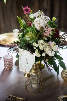 Mixed floral fall compote centerpieces with burgundy, blush and ivory, gold accents