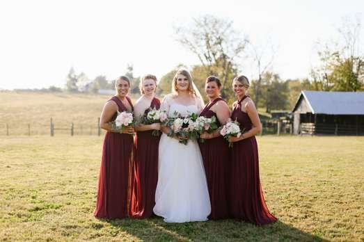 Rustic Elegant Fall Wedding, bridesmaids in bungundy