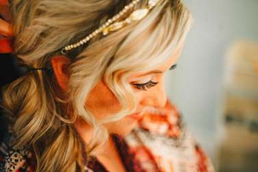 Bride getting ready picture makeup closeup