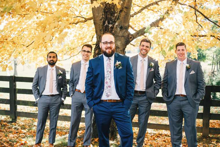 Groom & groomsmen portrait at Kentucky fall farm wedding