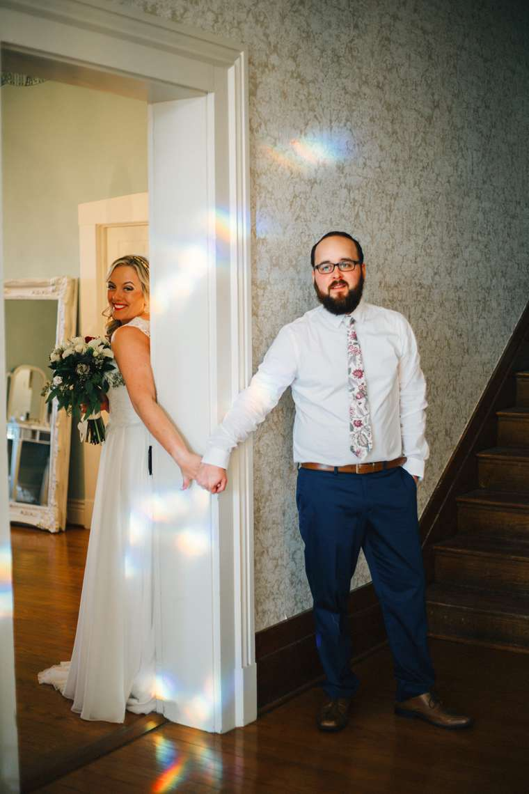First Look for Bride & Groom before ceremony at Warrenwood Manor