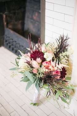 Bridal bouquet with pink, red and burgundy