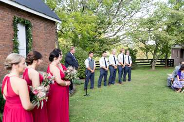 Romantic raspberry and navy wedding