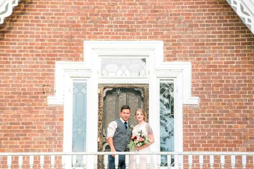 Bride and groom, historic home of kentucky