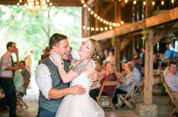 First dance in rustic kentucky wedding barn