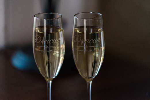 Custom champagne flutes for the bride & groom
