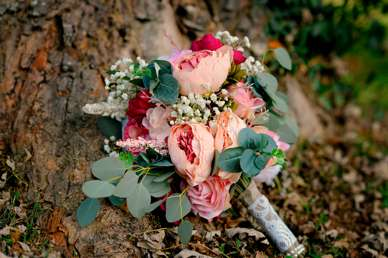 Coral and Pink mixed flower bridal bouquet