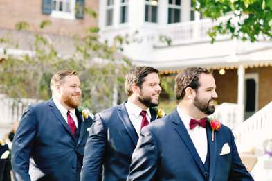 Groom and Groomsmen enter fall outdoor ceremony