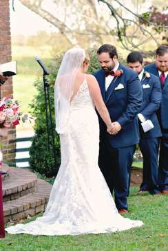 Bride and Groom during fall outdoor ceremony