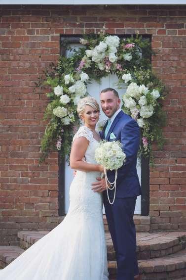 Bride and Groom at Warrenwood Manor vintage glam outdoor wedding