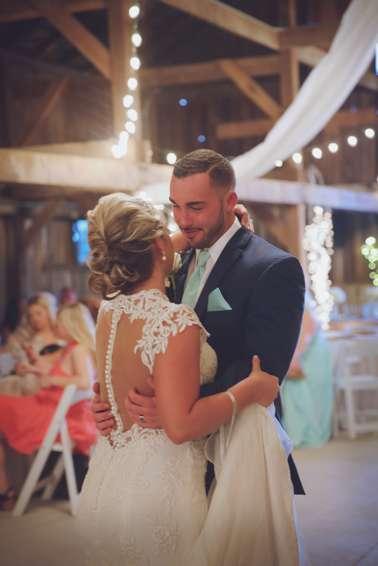 Bride and Groom first dance at vintage glam spring wedding