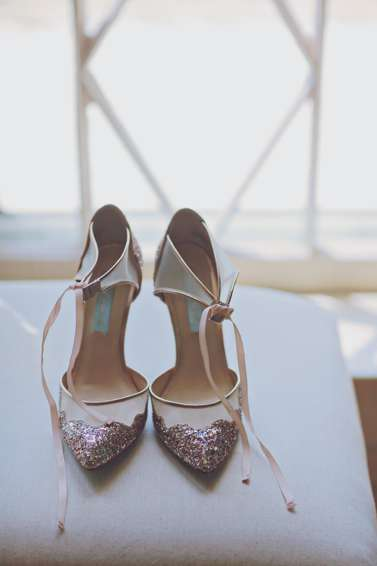Bride's glitter glam wedding heels