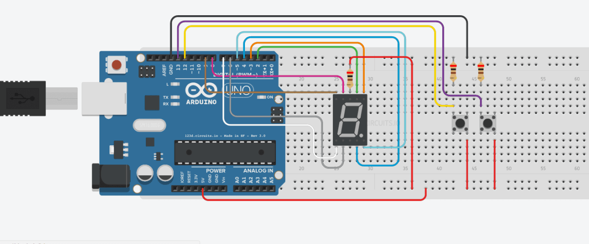 Seven Segment Dengan Push Button Menggunakan Arduino - Counter Up & Down