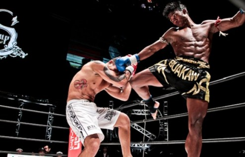 Muay Thai body kick connects with the shin