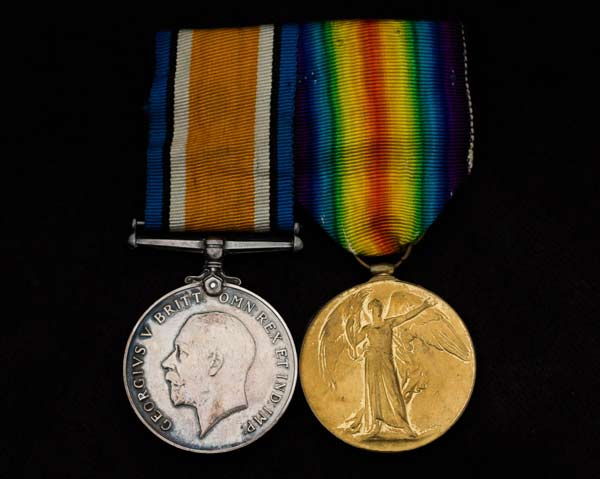Zennosuke Inouye's medals for service in the First World War, circa 1920s. Left to right: British War Medal, Victory Medal. Loan courtesy of Rob and Chris Inouye.
