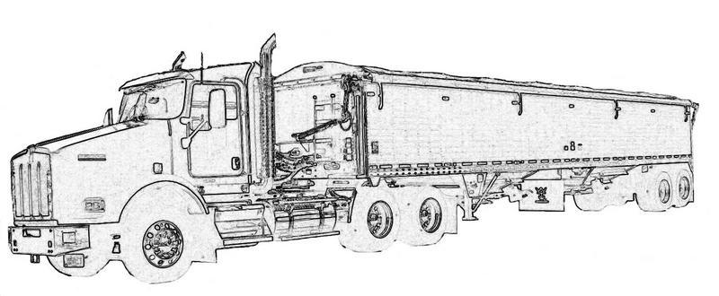 semi grain truck colouring pages