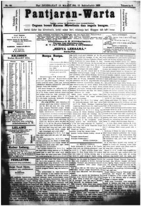 Surat Kabar Pantjaran Warta 13 Maret 1914