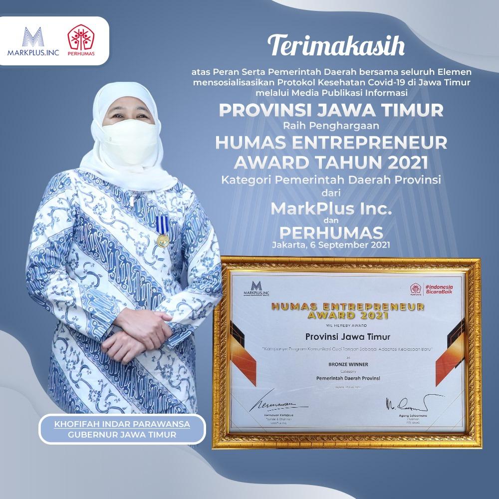 Pemprov Jatim Raih Penghargaan Humas Enterpreneur Award Tahun 2021