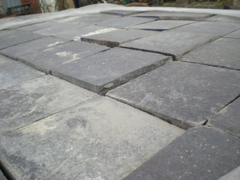 reclaimed 6x6 inch 150x150mm blue black quarry tiles