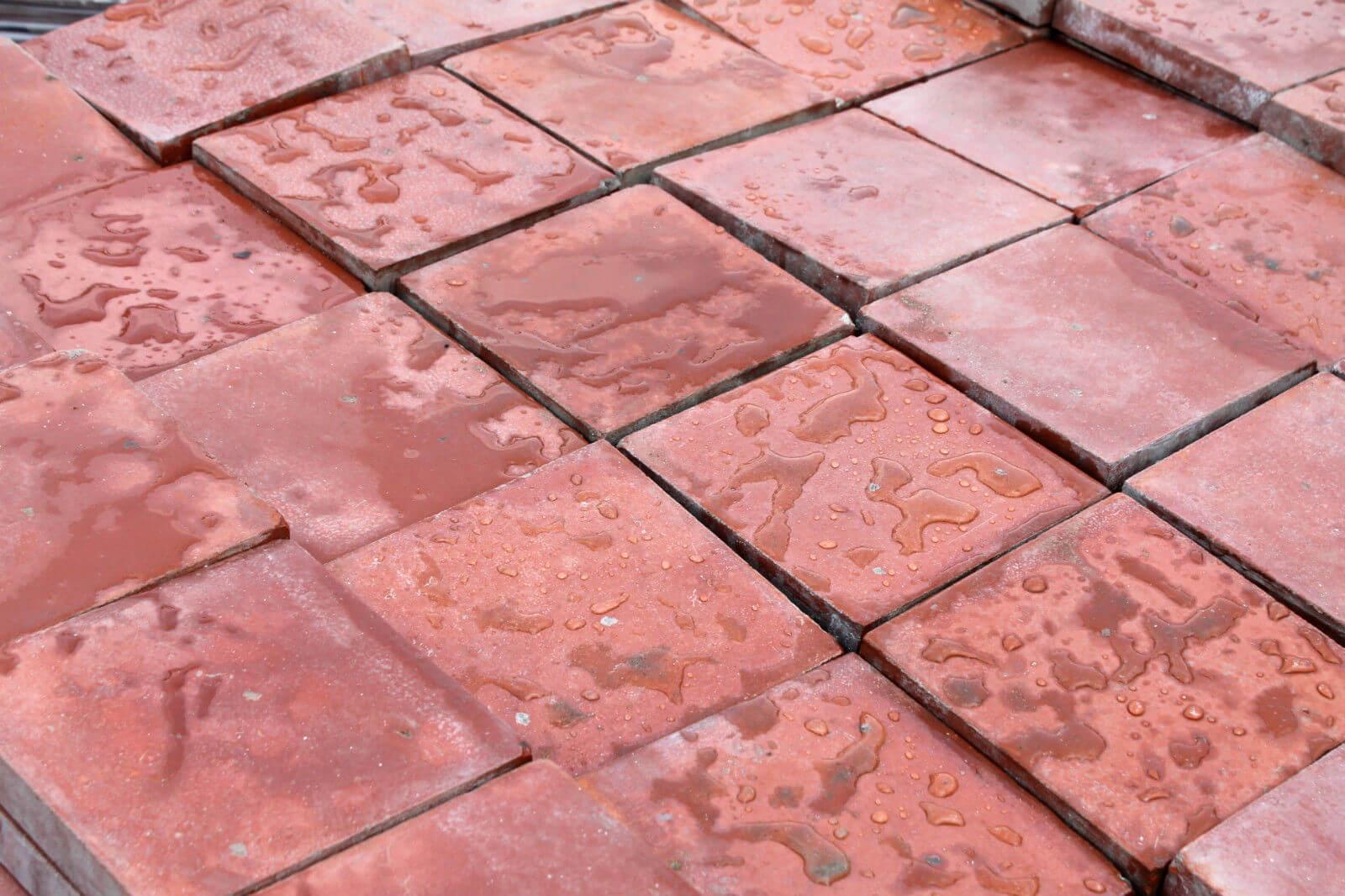 reclaimed 6x6 inch 150x150mm terracotta red quarry tiles