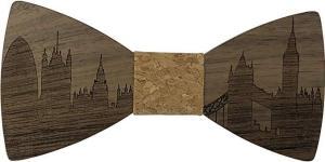Holzfliege mit Skyline von London - auch als Frankfurter Skyline und Pariser Skyline erhältlich