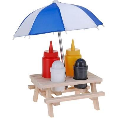 Picknicktisch für Grillsoßen Ketchup Senf Salz Pfeffer