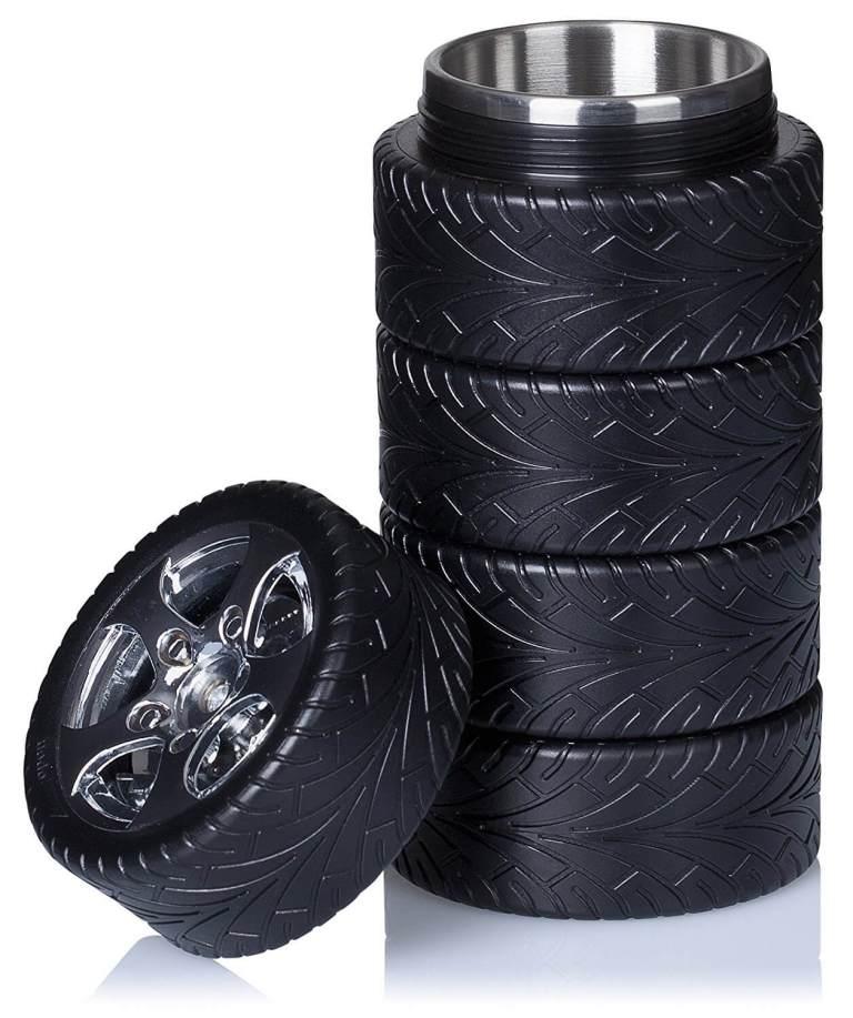 Thermoskanne im Reifen-Design Reifendesign Isolierkanne im Formel-1 Look gestapelte Reifen 2