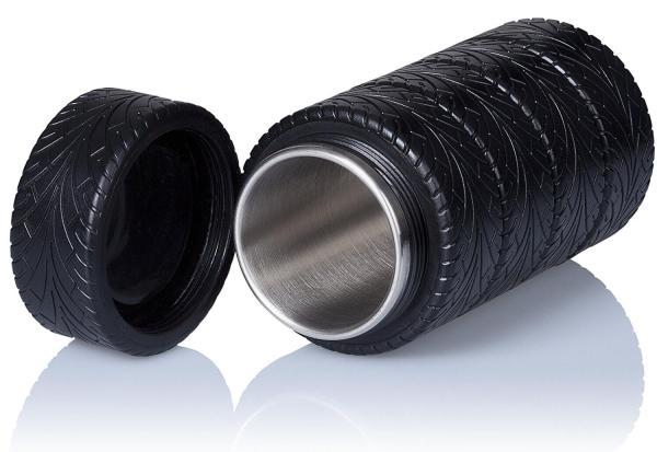 Thermoskanne im Reifen-Design Reifendesign Isolierkanne im Formel-1 Look gestapelte Reifen 3