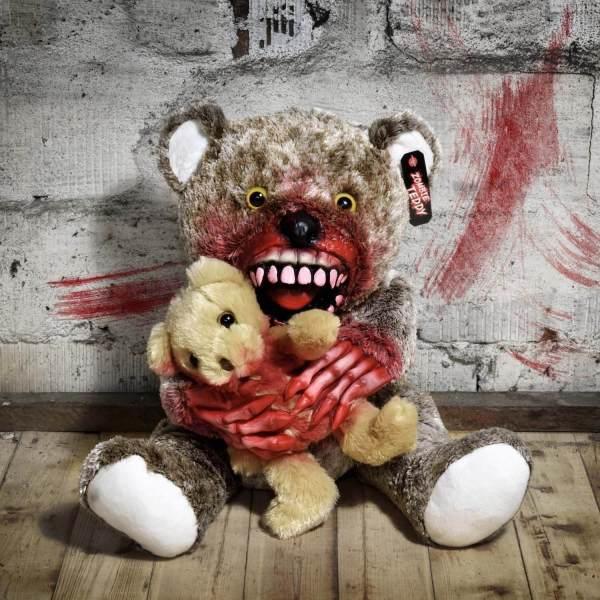 Zombie Teddy kaufen Geschenk für Horror Fans - Teddybär, Kuscheltier, Plüschtier, Stofftier - Knochen Hände mit kleinem 2