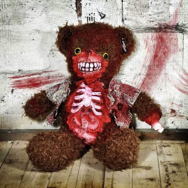 Zombie Teddy kaufen Geschenk für Horror Fans - Teddybär, Kuscheltier, Plüschtier, Stofftier - offener Bauch 4