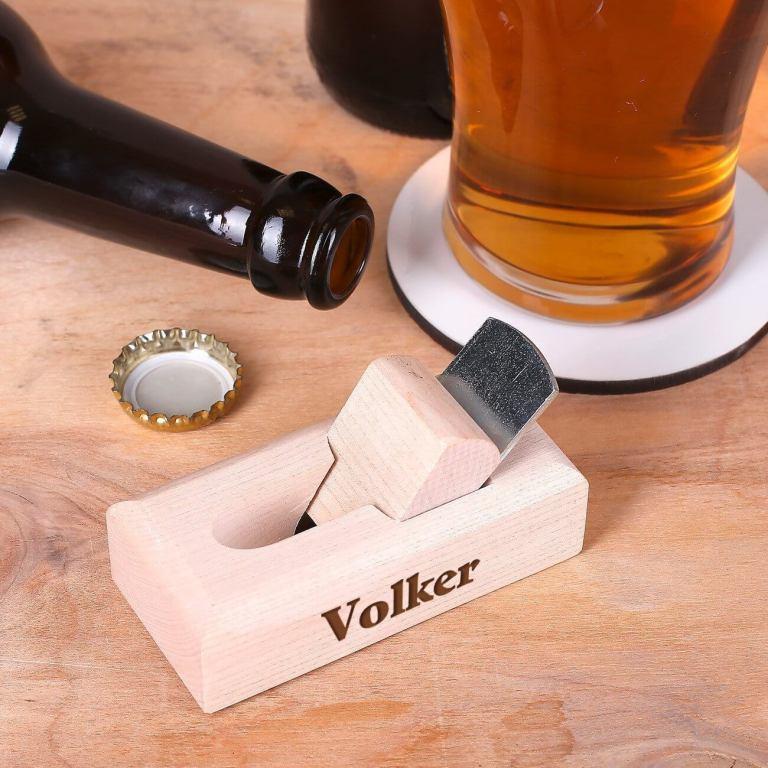 Aussergewöhnliche Flaschenöffner ungewöhnlich Kapselheber ausgefallen Bieröffner - coole, besondere, beste, edle, edel, lustige, originelle, aus Holz - Werkzeug Hobel