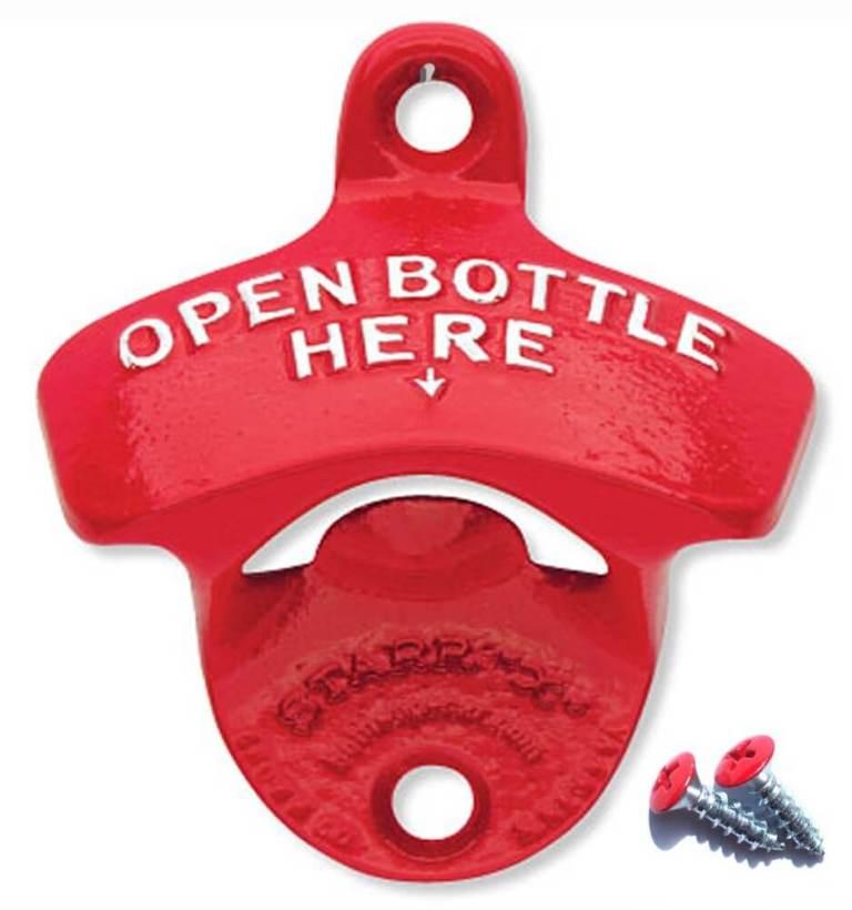 Aussergewöhnliche Flaschenöffner ungewöhnlich Kapselheber ausgefallen Bieröffner - coole, besondere, beste, originelle, aus Holz - Wand Flaschenöffne open bottle here rot