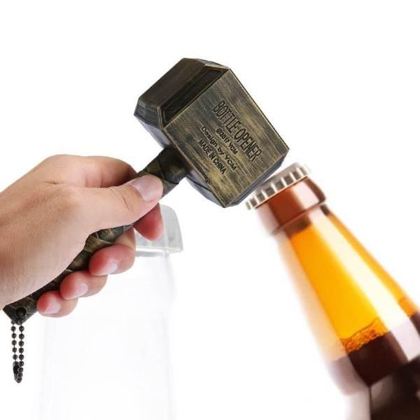 Thors Hammer als Flaschenöffner, Kapselheber im Thor-Design Thor-Optik Bierflaschenöffner für Thor Fans, Bieröffner Geschenk für Avengers Fans 3
