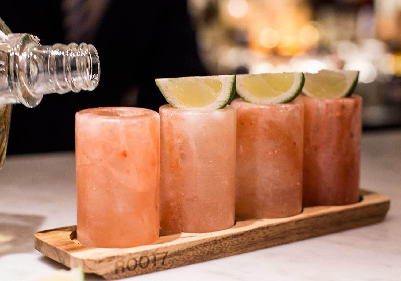4 Himalaya Schnapsgläser für Tequila, beste Weihnachtsgeschenkauswahl für Männer - Shotglas für Tequila - Tequilagläser aus Salz