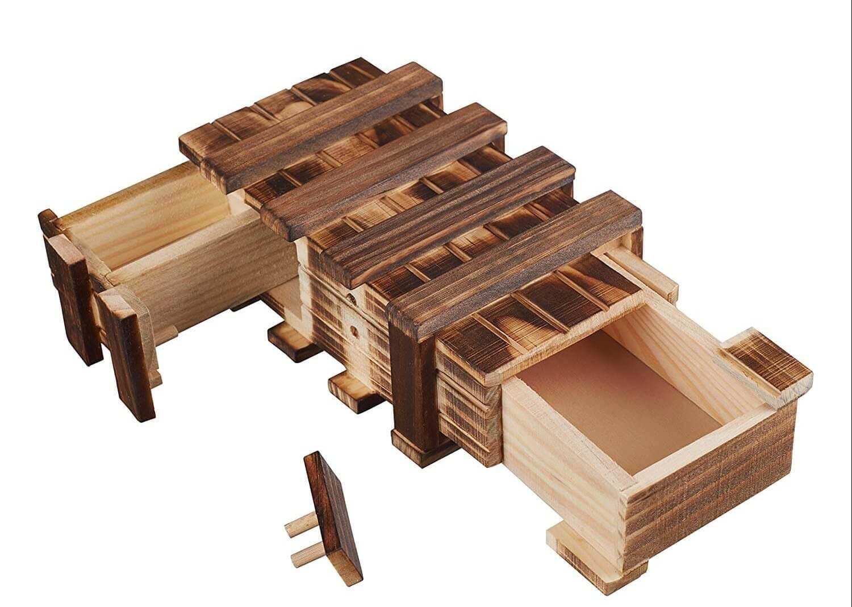 Geldgeschenk Holzbox mit Geheimfach - Geschenke aus Holz für Männer - Geheimfachbox - Geld verschenken - bestes Geldgeschenk