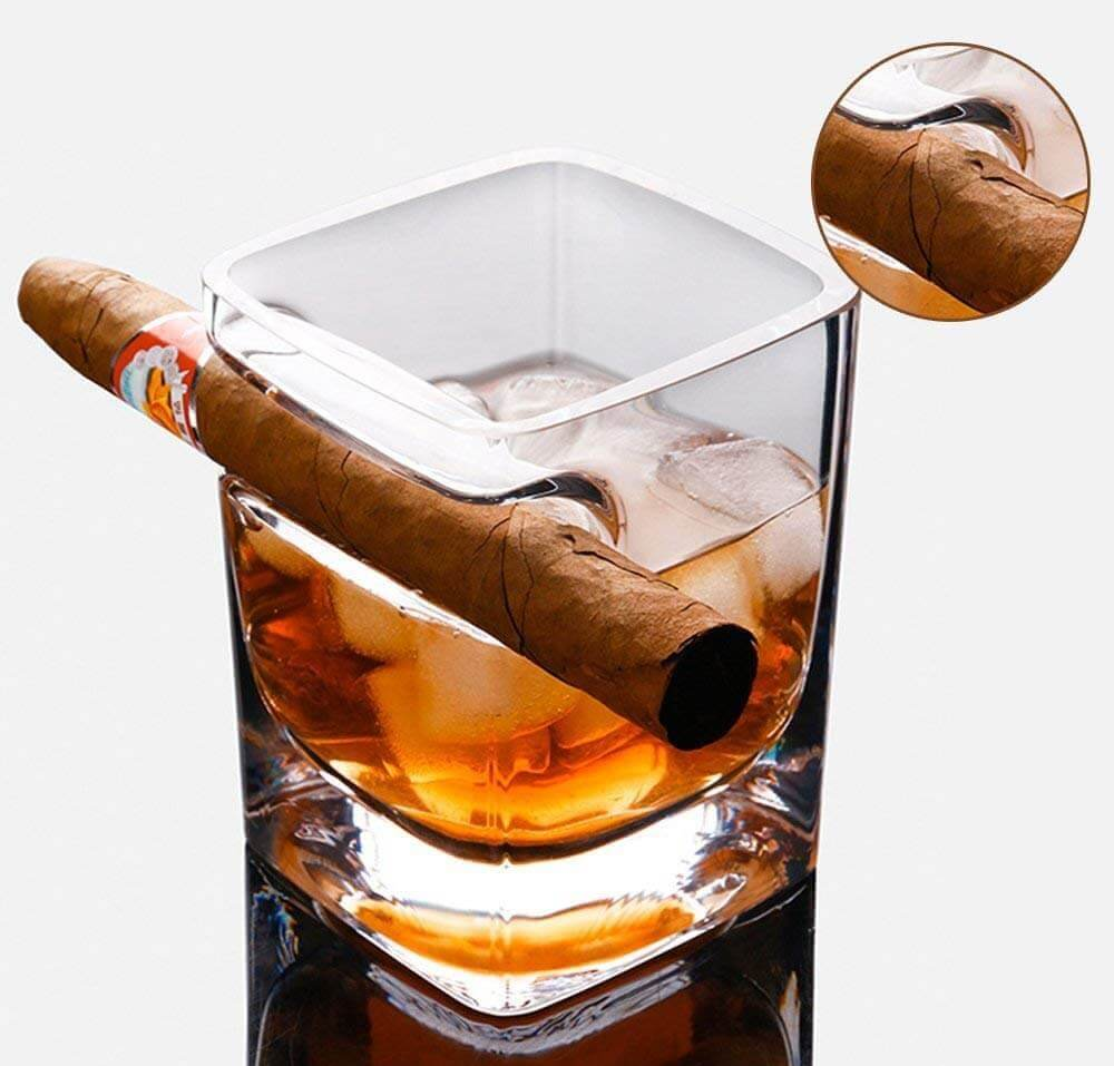 Whisky-Zigarren-Glas - Whiskyglas mit Zigarrenhalter - Zigarren Scotchglas - Brandy Zigarrenglas - Bourbonglas