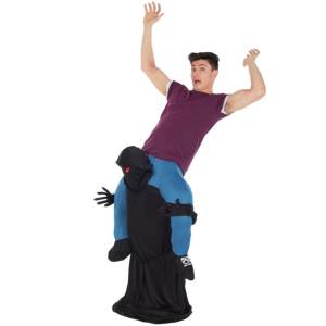 104 Carry Me Kostüm Ungetüm der Tod Huckepack Kostüm Dunkles Wesen Verkleidung Fabelwesen Piggyback Ride On auf Schultern Faschings Karneval Kostüm Halloween Junggesellenabschied