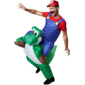 165 Carry Me Kostüm Super Mario auf Yoshi Huckepack Kostüm Nintendo Mario auf Joshi Verkleidung Piggyback Ride On Faschings Karneval Kostüm Komplettes günstiges Carry Me Kostüm