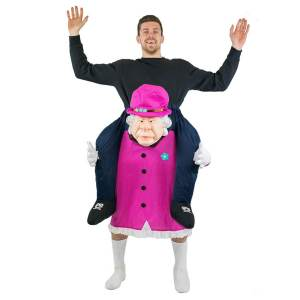 215 Carry Me Kostüm Queen Huckepack Kostüm Königin von England Verkleidung Fabelwesen Piggyback Ride On auf den Schultern Faschings Geschenk Karneval Kostüm Halloween JGA DIY