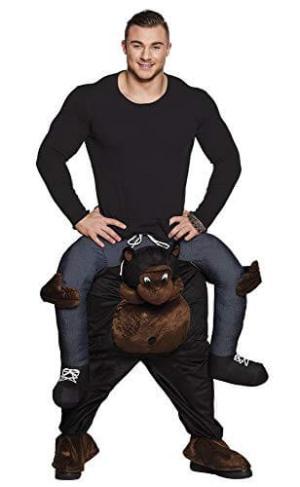 27 Huckepack starker Gorilla Kostüm Affen Verkleidung Tierkostüm Piggyback Ride On auf den Schultern Kostüm Faschings Geschenk Karneval Kostüm Halloween Fastnacht